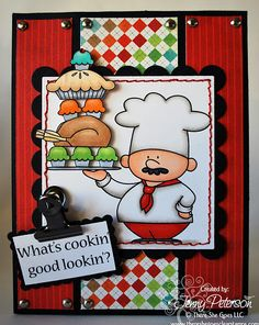 Check out this card from Jenny Peterson!  Isn't this chef from There She Goes stamps adorable?