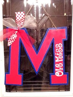 Ole Miss wooden door hanger. Hotty toddy!