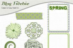 Green & Gray Kit & Freebie Project life DIgital scrapbook