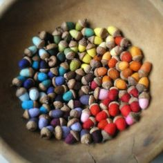 pick up the acorns in the backyard, paint and have an instant centerpiece in a glass hurricane color, felt acorn, craft stores, paint, craft home decor, felted wool, acorn crafts, craft ideas, rainbow