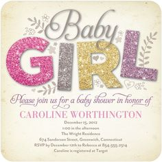All Things Glitter - Baby Shower Invitations - Hello Little One - Heather - Pink : Front