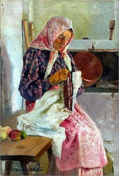 Woman Stitching the Shawl - Nikolay Bogdanov-Belsky needlework, nikolaybogdanovbelski, nikolay bogdanovbelski, shawl, art, school doors