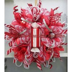 Whimsical Peppermint Christmas Deco Mesh Wreath from the craftoutlet.com photo conteste
