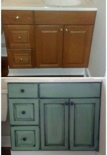 Idea for bathroom cabinets - use wall color + black. Add knobs.