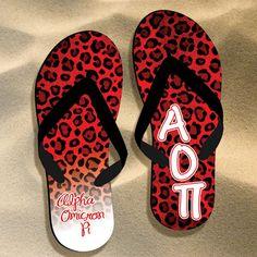 Alpha Omicron Pi Cheetah Print Flip Flops $17.95 #Greek #Sorority #FlipFlops #Beach #Summer #AlphaOmicronPi #AOPi #Cheetah