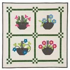 Gathered from the Garden, spring quilt pattern by Cindy Lammon place quilt, garden quilt, applique baskets, basket quilt, quilt collect, garden ebook, patchwork place, quilt pattern, collect ebook
