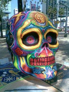 mexican skulls, color, mexico, street art, los muerto, dia de, skull art, de los, rainbow