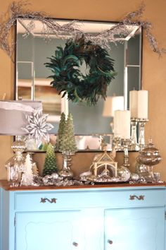 My #turquoise buffet from #Goodwill is dressed up for #winter and the #holidays. #Christmas #decor