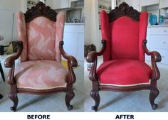 Painting fabric furniture - best site for tutorials, links and tons of before afters