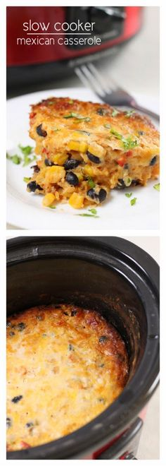 Love this Vegetarian Slow Cooker Mexican Casserole from Amuse Your Bouche; I would add something cooling when I serve it like avocado, sour cream, or salsa. [via Slow Cooker from Scratch] #SlowCooker #CrockPot #MeatlessMonday