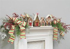decorating with gingerbread houses, Christmas mantle decorating idea-love the ribbon
