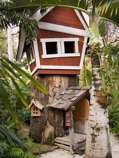 "Perfect backyard playhouses  Oh, The Places You'll Go!   Part playhouse, part children's book fantasy, a treehouse gets dressed up with whimsical details. In place of a standard stairs or ladder, the design integrates an old tree trunk as a ""first floor."""