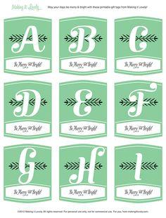 Free Printable Monogram Christmas Gift Tags