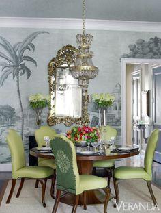 decor, interior design, dining rooms, dine room, chairs, green, design interiors, mural, veranda