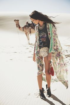 Full length kimono. Such a pretty print. -White Dunes - Gypsy Hues- Winter 2014 look book from Spell & the Gypsy Collective.