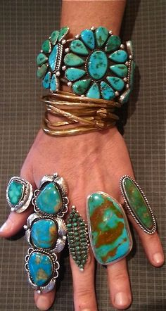 Turquoise and sterling silver bracelet and rings.
