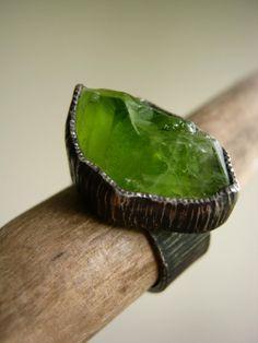Peridot Birch Bark Ring