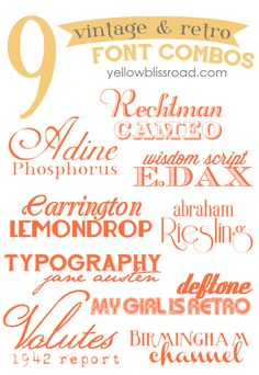 Vintage & Retro Inspired Free Font Combinations ~ Here are eighteen of my favorite vintage and retro inspired free fonts, paired into fabulous combos! There are links to download each of the fonts.  Links @: http://www.yellowblissroad.com/2013/08/vintage-retro-inspired-free-font.html?utm_source=feedburner_medium=email_campaign=Feed%3A+yellowblissroad+%28Yellow+Bliss+Road%29
