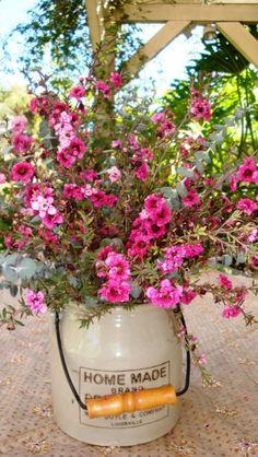 crock of flowers - so pretty!