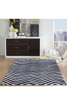 Rugs USA Homespun Chevron Charcoal Rug...in navy blue for the office?