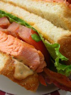 Wasabi-Glazed Salmon BLT with Sriracha-Dill Mayonnaise #recipe