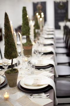 tree, christmas tables, dinner parties, book pages, black white, topiari, winter weddings, christmas table settings, holiday tables