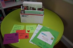 Mail center in the classroom for students to write notes to the teacher