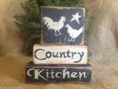 Primitive Country Hen and Rooster Star Country Kitchen Shelf Sitter Wood Blocks #NaivePrimitive