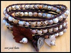 Triple Wrap Howlite Bead & Leather Cord with Tibetan-Silver & Glass Charms Bracelet