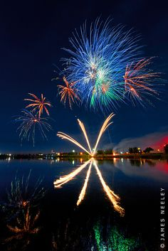 July 4th fireworks along the Snake River, Idaho