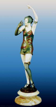 An Art Deco chryselephantine sculpture by Dorothea Charol, France circa 1920s.