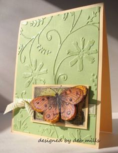 butterfly on embossed background