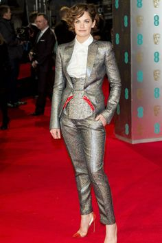 At the 67th British Academy Film Awards, Ruth Wilson tones down the shine by wearing a metallic Antonio Berardi suit over a sartorial white oxford. [Photo by Mark Cuthbert/UK Press via Getty Images]