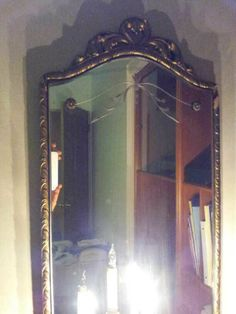 Antique Vintage Etched Ornate Mirror with Gold Gesso Chippy Frame