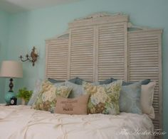 decor, old shutters, vintage closet, idea, closet doors, shabby chic, flea market, door headboards, bedrooms