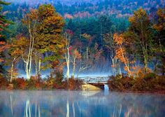 new england, autumn, the bridge, fall, amaz photographi, lakes, beauti, bridges, reflect