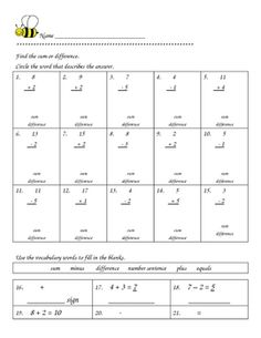 Great addition and subtraction worksheets for 2nd Grade.