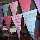 Recycled rice bag bunting.