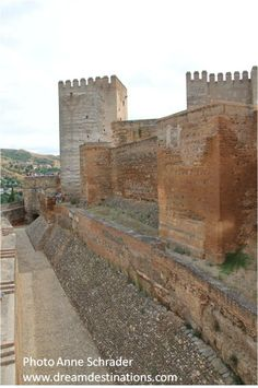 Gunpowder Tower (left side), Watch Tower (right side) Alcazaba Grenada Spain.  This is the military part of the Alhambra.