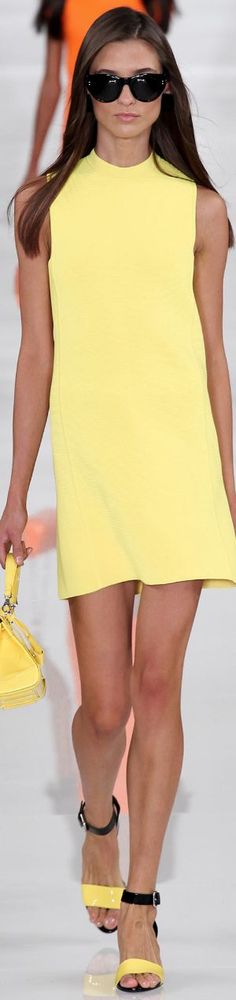 yellow spring/summer dress by RALPH LAUREN Spring 2014 Ready-To-Wear Collection