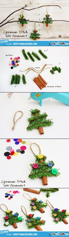 Cinnamon Stick Tree Christmas Ornaments  For a SWAP, use a mini craft stick or a real twig instead of a cinnamon stick.