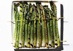 Skewered rack of asparagus. Throw it on the grill!