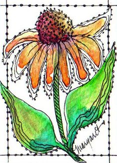TRADED...GOOD VIBRATIONS ATC SERIES #6 by Margaret Storer-Roche, via Flickr watercolour flower