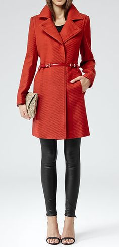 Coral Coat With Black Leather Tight