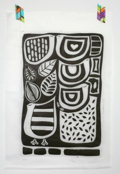 Linocut A/P on tissue paper