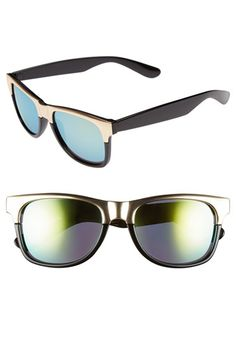 FE NY 54mm Metallic Browline Sunglasses available at #Nordstrom