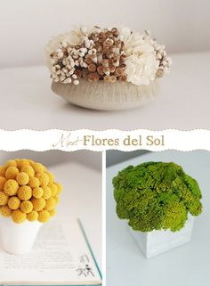 Modern dried flower arrangements from Flores del Sol #driedflowers #centerpiece #wedding