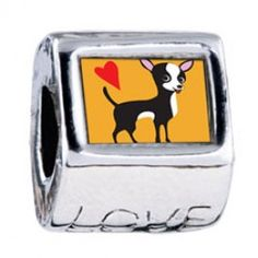 Chihuahua Dog Love European Charms  Fit pandora,trollbeads,chamilia,biagi and any customized bracelet/necklaces. #Jewelry #Fashion #Silver# handcraft #DIY #Accessory