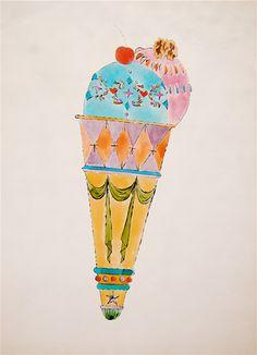Ice Cream Cone - Andy Warhol warhol food, andy warholl, art, andi warhol, andy warhol illustration, eye scream, icecream, ice cream cones