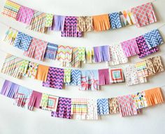 Party garland made from colorful napkins
